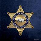 County of Los Angeles Sheriff's Department - LASD Deputy Sheriff Badge over Blue Velvet by Serge Averbukh