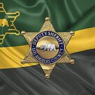 County of Los Angeles Sheriff's Department - LASD Deputy Sheriff Badge over the Department Flag by Serge Averbukh