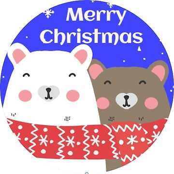 Merry Christmas Bears Blue Sticker for Envelope and Package Decoration by TheKitch