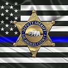 L.A. County Sheriff's Department - LASD Deputy Sheriff Badge over The Thin Blue Line Flag by Serge Averbukh