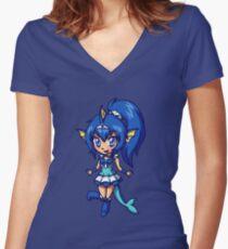 Vaporeon Magical Girl Chibi Women's Fitted V-Neck T-Shirt