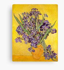 Lienzo Van Gogh Irises en florero fondo amarillo