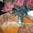 Pink Peonies and Apples by Libby Yee