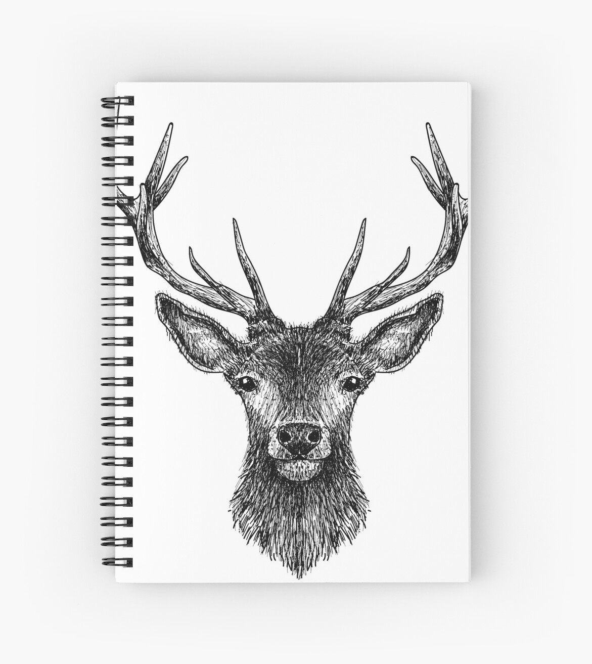 Deer head drawing black spiral notebook