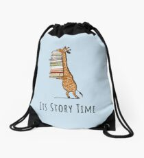 Funny Giraffe Holding a Stack of Books - It's Story Time - Book Lover Gift, Phones Cases And Other Gift Drawstring Bag
