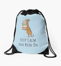 Funny Giraffe Holding a Stack of Books - Keep Clam And Read On - Book Lover Gift, Phones Cases And Other Gift Drawstring Bag