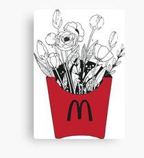 Flowers in McDonalds fries pack Canvas Print