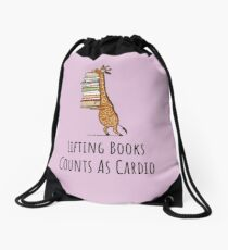 Funny Giraffe Holding a Stack of Books - Lifting Books Counts As Cardio - Book Lover Gift, Phones Cases And Other Gift Drawstring Bag