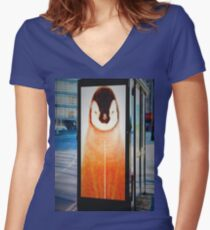 PENGUIN BUSTOP Women's Fitted V-Neck T-Shirt
