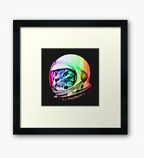 Space Cat Astronaut Kitty T-Shirt Helmet Galaxy Neon Colors Framed Print