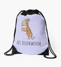 Funny Giraffe Holding a Stack of Books - Mrs Bookworm - Book Lover Gift, Phones Cases And Other Gift Drawstring Bag