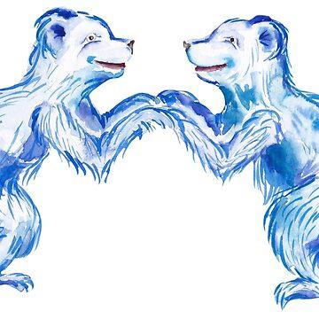 blue couple bears by lisenok