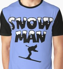 Snowman Snow Ski Skier Skiing Graphic T-Shirt