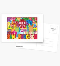 San Francisco CA City Skyline with Trolley Golden Gate Bridge on Paisley Pattern Color drawing Postcards