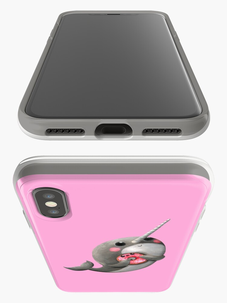 Alternate view of Cute Narwhal with donut iPhone Case & Cover