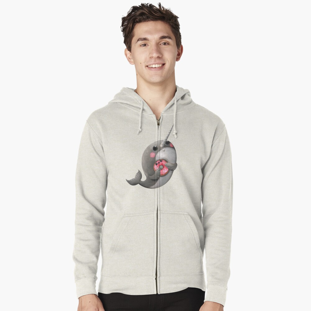 Cute Narwhal with donut Zipped Hoodie