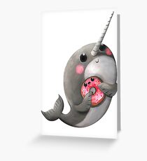 Cute Narwhal with donut Grußkarte