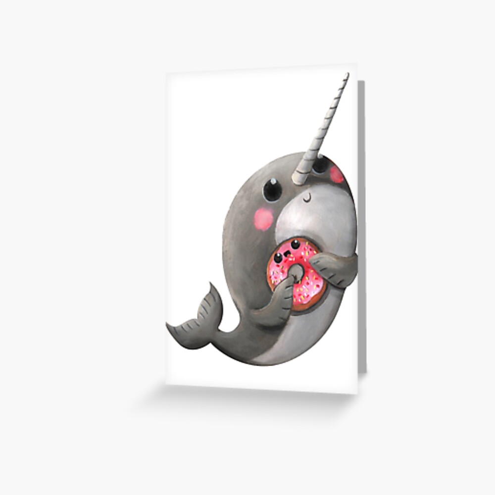 Cute Narwhal with donut Greeting Card