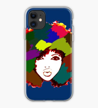 Afro Curly Rainbow Hair Girl Curly Natural Hair iPhone Case