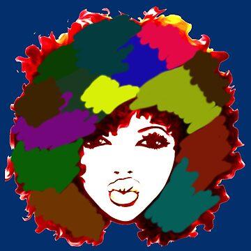 Afro Curly Rainbow Art Natural Hair Naturalista by EllenDaisyShop