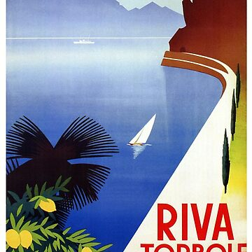 Travel Italy 1920s Lake Garda Riva Torbole Gardesana advert by aapshop