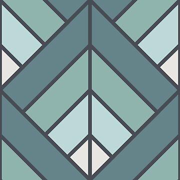 Geometric Pattern: Art Deco Diamond: Seafoam by redwolfoz