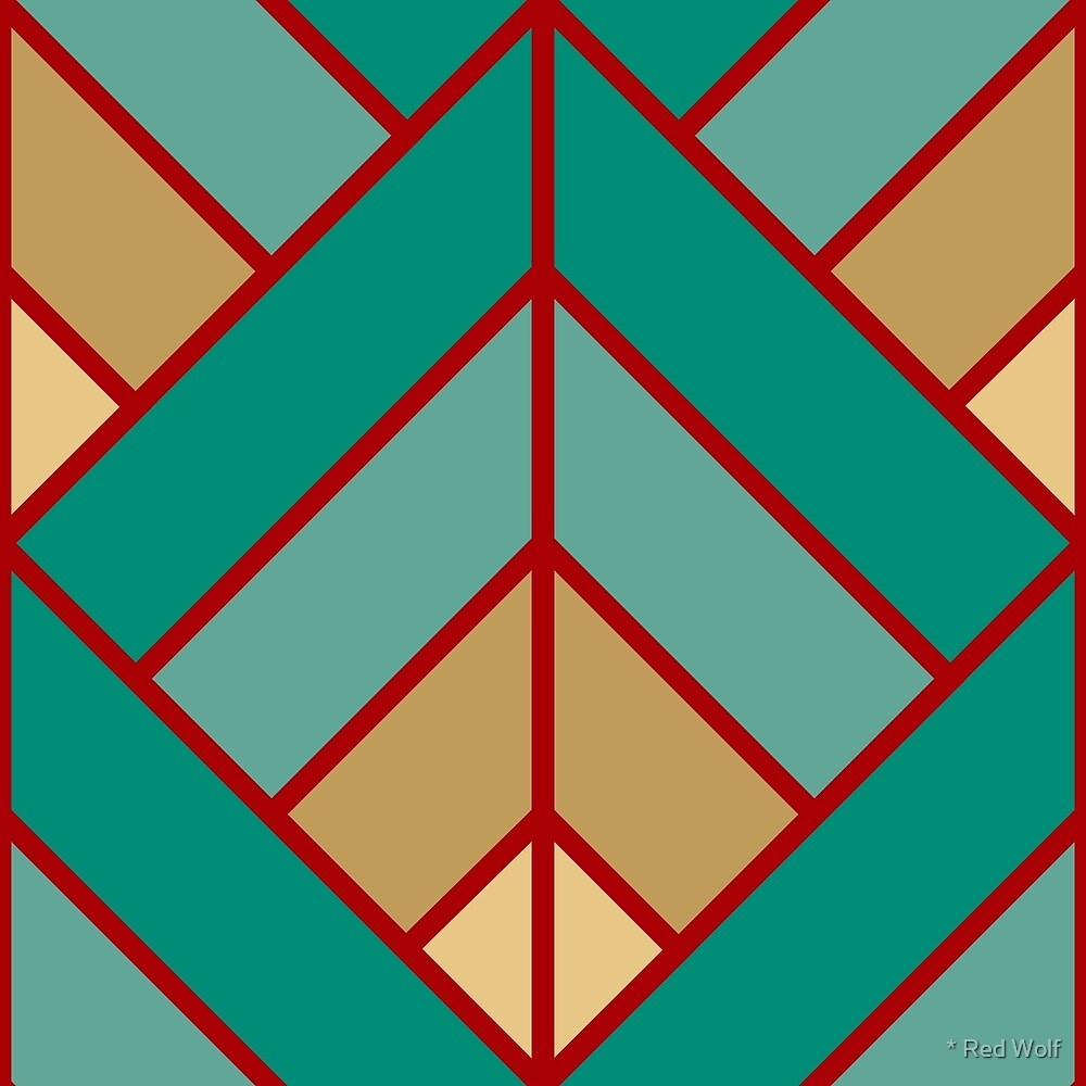Geometric Pattern: Art Deco Diamond: Turquoise by * Red Wolf