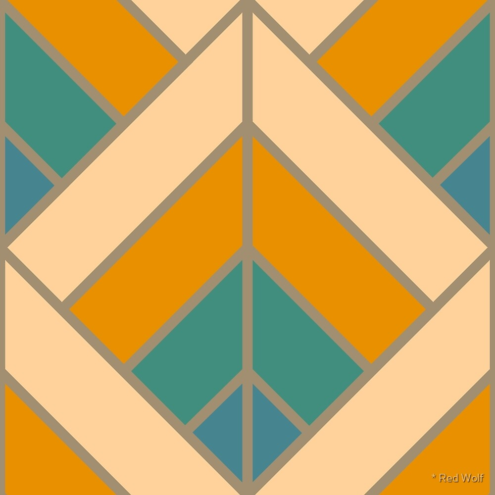 Geometric Pattern: Art Deco Diamond: Lily by * Red Wolf