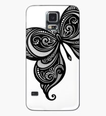 Black and White Illustration of Exotic Butterfly Case/Skin for Samsung Galaxy