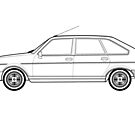 Renault 30 Classic Car Outline Artwork by RJWautographics