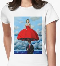 UMBRELLA LADY : Vintage Abstract Dali Painting Print Women's Fitted T-Shirt