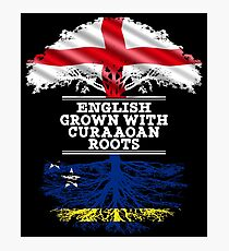 English Grown With Curaaoan Roots Gift For Curaaoan From Curacao - Curacao Flag in Roots Photographic Print