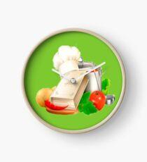 Kitchen utensils and food Clock