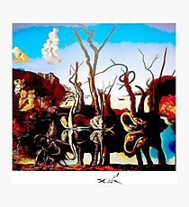 SWANS REFLECTING ELEPHANTS : Vintage Abstract Dali Painting Print Photographic Print