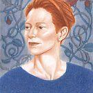 portrait of Tilda Swinton with celtic poppies by EllenLambrichts