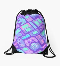 Video Game Controllers in Cool Colors Drawstring Bag
