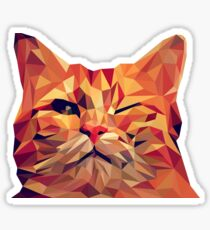 Low Polly Funny Cat Portrait Sticker