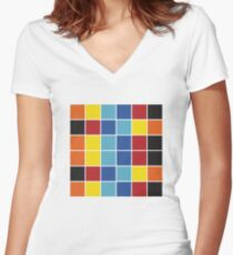 Pop Art Color Blocks Women's Fitted V-Neck T-Shirt