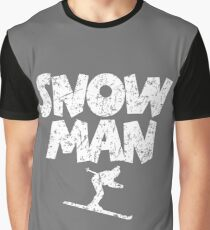 Snowman Ski Skier Skiing Graphic T-Shirt