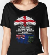 English Grown With Virgin Islander Roots Gift For Virgin Islander From British Virgin Islands - British Virgin Islands Flag in Roots Women's Relaxed Fit T-Shirt