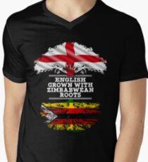 Englisch angebaut mit simbabwischen Wurzeln Geschenk für Simbabwe von Simbabwe - Simbabwe Flagge in Wurzeln T-Shirt mit V-Ausschnitt für Männer