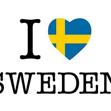 I Love Sweden, Sverige, classic by Alma-Studio