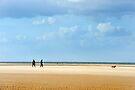 Walking the Dog on the beach, Norfolk by Richard Flint