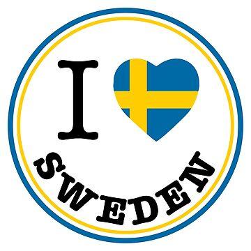 I Love Sweden, Sverige, circle by Alma-Studio