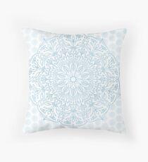 Blue Delicate Nature Mandala Throw Pillow