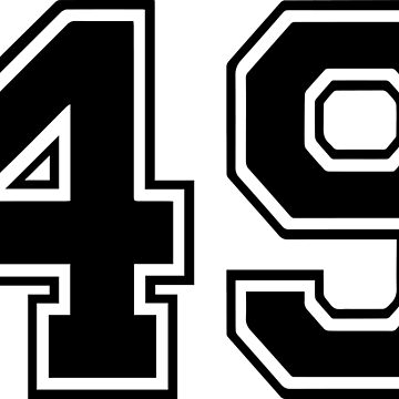 Varsity Black Number 49 Single | Black and white forty nine number by igorsin