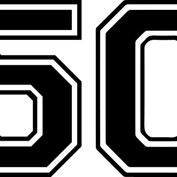 Varsity Black Number 50 Single | Black and white fifty number by igorsin