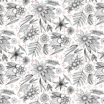 black and white floral pattern with red details by swoldham