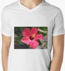 Tropische Hibiskus-Blume T-Shirt mit V-Ausschnitt