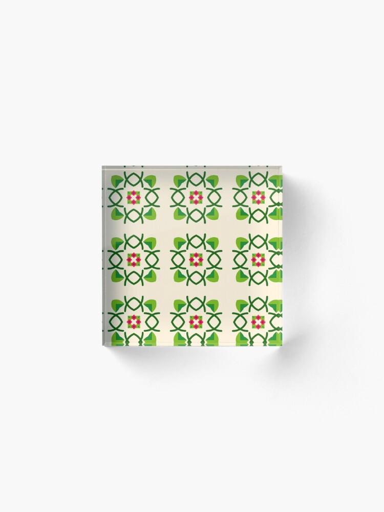 Alternative Ansicht von Naturfriedensliebe Romance romantico Blumengrünes nahtloses buntes Wiederholungsmuster Acrylblock